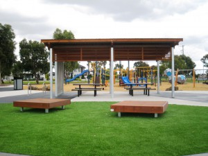 Custom Skillion Shelter & Platform Seats, Duke Street Reserve, Sunshine North