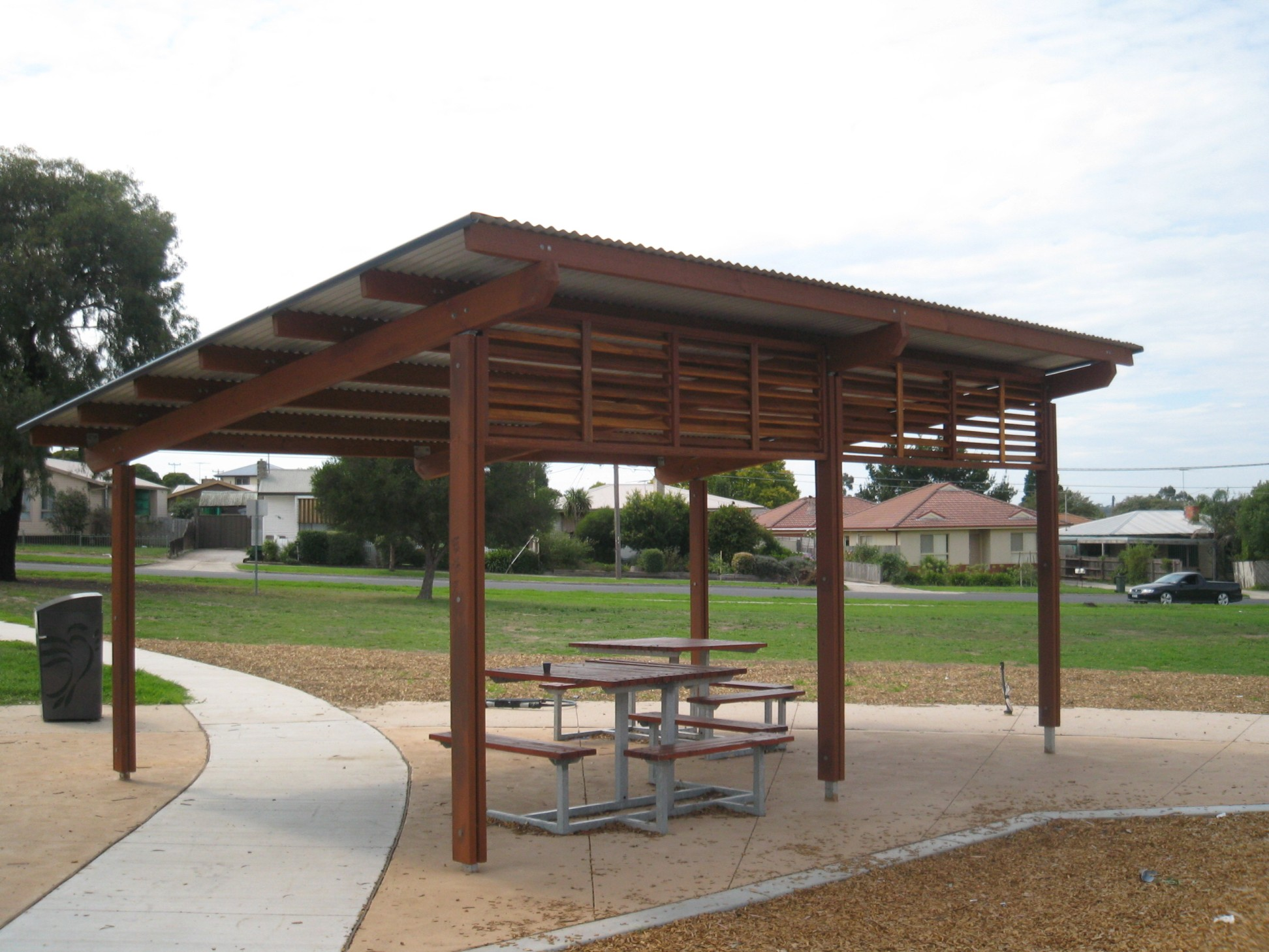 Steel Outdoor Shelters : Roof shelter building a mobile shade part