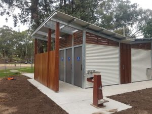 "Mitchell Shire Council – Twin ""Bass"" restroom with timber elements​"