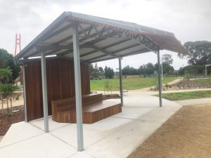 Hobson's Bay City Council – Epsom Reserve shelter and custom furniture elements.