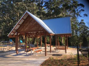 Design and construct, gable shelter, pedestrian bridge, all abilities restroom.